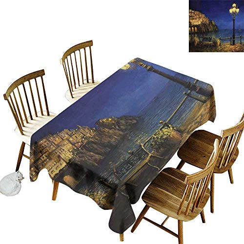Bar Amalfi Outdoor Table (W Machine Sky Rectangular Tablecloth Italy Starry and Romantic Evening at The Coast of Amalfi in Italy Oil Painting Style W70 xL90 for Family Dinners,Parties,Everyday Use)