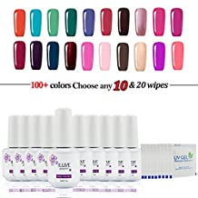 Choose Any 10 Colors OR 8 Colors + 2pcs Base Top Coat in 238 New iLuve Professional Bling Shiny Color With 20*Pics Free Removers Wraps Soak Off Gel Nail Polish Varnish UV LED (10 pack*15ml+20*Pics Free Removers Wraps)