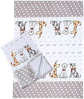 Paño de Cocina (2 Piezas) Lavable a máquina de algodón Cocina Blanca Paños de Cocina Toallas de té Toallas con Lindo diseño de Perro Regalos Amante de los ...