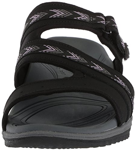 Scholl's Black Women's Leather Dr Action Day Slides TqZpxp