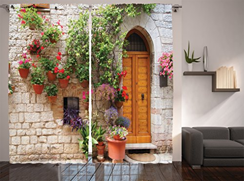 Ambesonne Tuscan Decor Collection, Begonia Blooming in Box and Wooden Shutters on Brick Wall in Italy Picture, Window Treatments, Living Room Curtain 2 Panels Set, 108 X 84 Inches, Red Purple Ivory