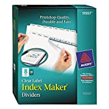 Avery 11557 Index Maker, Laser, Punched, 8-Tabs, 50 ST/BX, 8-1/2''x11'',CL
