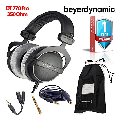 Beyerdynamic DT 770 Pro 250 Ohm Closed-Back Studio Mixing Headphones -Includes- Soft Case, Splitter, and 1-Year Extended - Studio Closed Pro