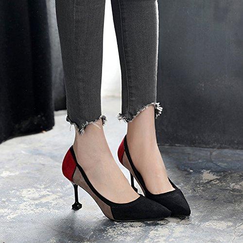 Solo Tacón Boca Negro Zapatos Mujer De Tip Línea Color Alto Los Zapatos Deletrear GAOLIM Zapatos De Para Superficial Primavera 0HRwS7xq6