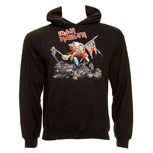 Black Label Printed Hoodie - Iron Maiden Men's Trooper Hoodie - X-Large, Black