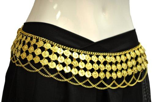 Gypsy Hippie Belly Dance Gold Metal Dangling Coins Chains Belt - Dance Gypsy Belly Hippie