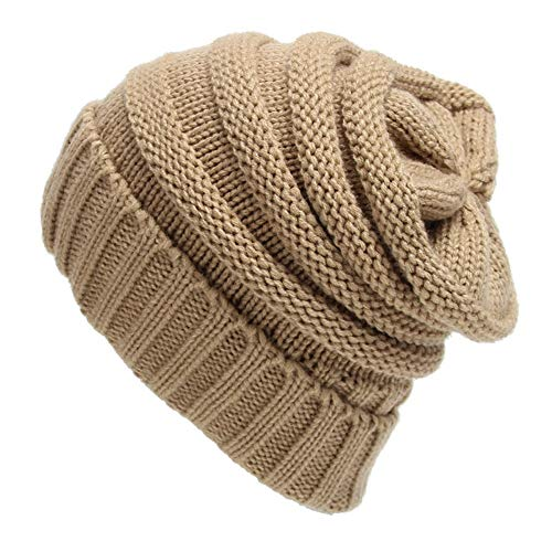 MJ-Young New Winter Beanie Hats for Women Men Skull Beanies Warm Cap Slouchy Crochet Hat Baggy Caps Khaki -