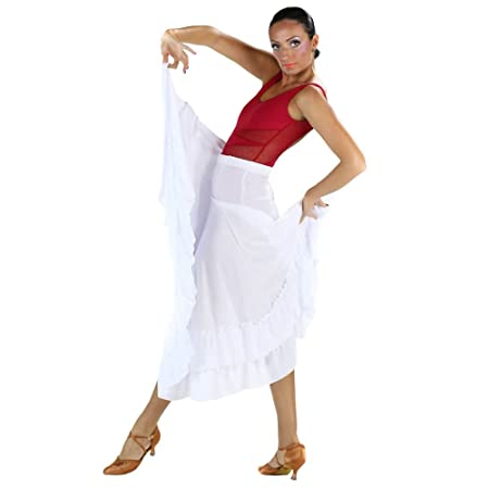 Danzcue Adulto Dos Volantes Falda de Baile Flamenco, Blanco, XL ...