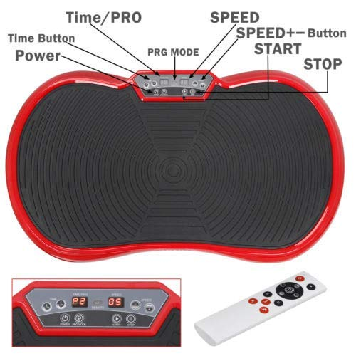 HomGarden Crazy Fitness Vibration Fit Machine Plate Platform Massager - Whole Full Body Shape Exercise Machine Workout Trainer Slim w/Bluetooth, Red by HomGarden (Image #5)