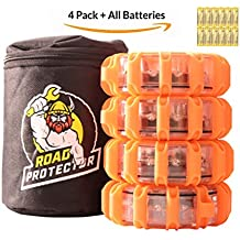 LED Road Flares and Storage Bag all Batteries Included already Installed | 9 Flashing Modes | Magnetic base and hanging area for easy mounting | Waterproof and extra bright for 1/4 mile visibility