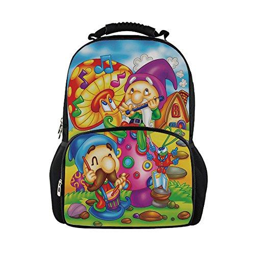 iPrint Kids School Bag Kids,Cartoon Style Singing Elves Mushroom Playing Flute Musical Cheerful Illustration,Multicolor Girls boys ()