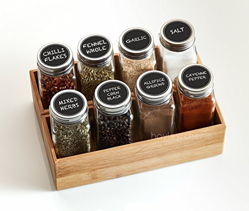 Hayley Cherie 6 Oz Large Square Glass Spice Jars Set Of