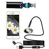 USB Borescope,Umiwe 3 in 1 Semi-rigid Type-C USB Endoscope Inspection Camera 2.0MP CMOS 720 HD Waterproof Snake Camera with 6 Adjustable Led for Android Windows and Macbook (5m)