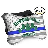 HASKDWHHK Thin Blue Line American Flag Morning Wood Lumber Go Car Neck Pillow (Soft Version)- Neck Pillow, Car Pillow, Memory Foam Neck Pillow, Neck Rest Pillow