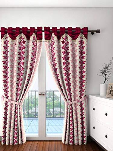 Cortina Fancy Skirt Eyelet Polyester Door Curtain   7 ft, Maroon