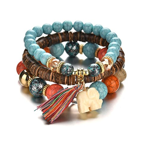 - Botrong Jewelry Beads Women Men Crystal Charm Bracelets Multilayer Bangles Candy Color