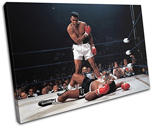 Muhammad Ali Boxing Pictures (Bold Bloc Design - Muhammad Ali Boxing Sonny Liston Sports 45x30cm SINGLE Canvas Art Print Box Framed Picture Wall Hanging - Hand Made In The UK - Framed And Ready To Hang)