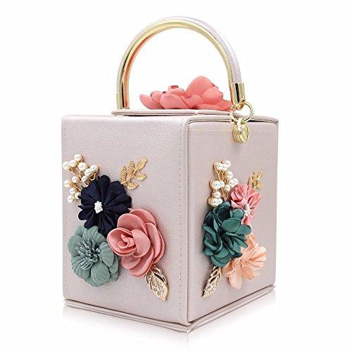 SSMENG Bolso de hombro Bolsos azules del bolso de tarde de las señoras del embrague de la boda del bolso de las mujeres de la flor, D B