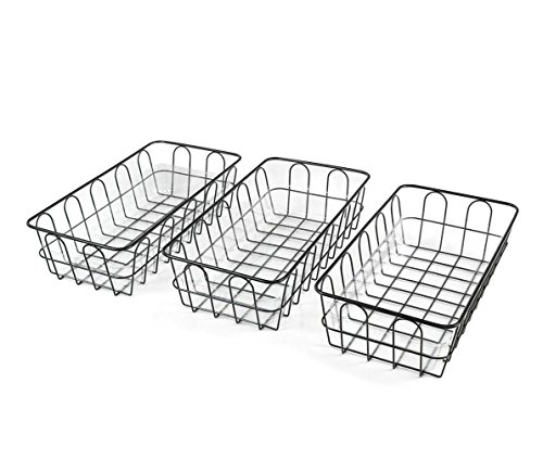 ESYLIFE Wire Bread Fruit Basket with Food Grade Transparent Plastic Tray, Set of 3