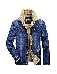 Newbestyle Mens Winter Button Down Sherpa Lined Denim Trucker Jacket Jeans Coats