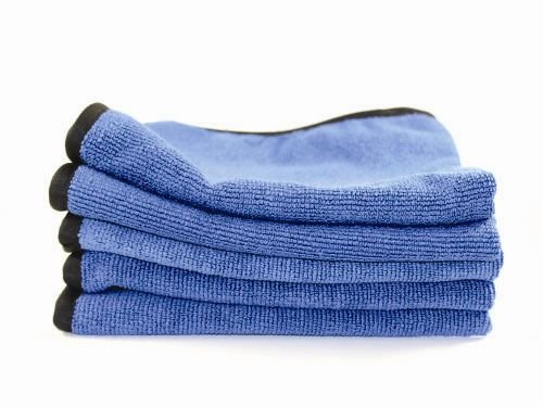12 Pack Pearl Weaved Microfiber Towels with Silk Bands - Highly Absorbent, Durable, and Scratch Free Guaranteed! Perfect For Glass & Mirrors (Blue)