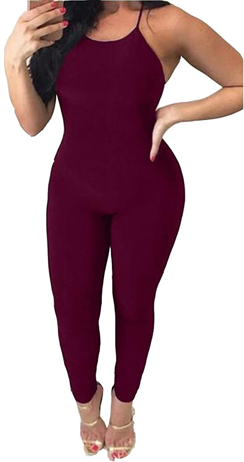 Aprilley Women's Solid Cross Straps Backless Sexy Slim Fit Rompers Pants