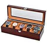 Men/Women Solid Wood Watch Box With 5 Removable Velour Pillows Top Viewing Watch Storage Display Case