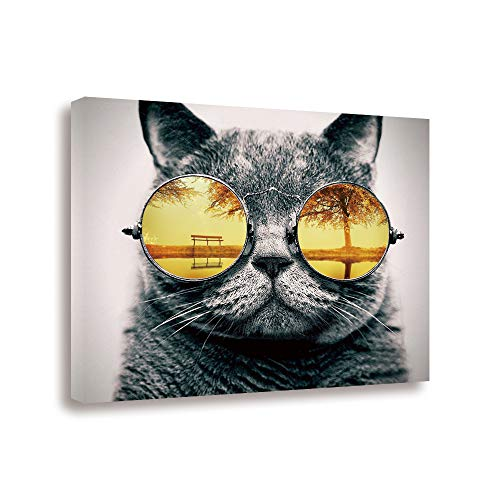 - GEVES Glasses Cat Funny Wall Art Canvas Paintings Pictures 16