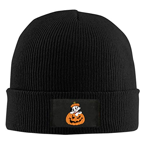 Head Space Puppy Clipart Halloween Unisex Cuffed Plain Skull Knit Hat Cap Black