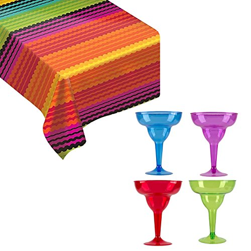 [Maven Gifts: Amscan Cocktail Margarita Glasses with Fiesta Vinyl Table Cover] (Spanish Themed Dress Up Ideas)