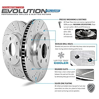Power Stop K6065 Front & Rear Brake Kit with Drilled/Slotted Brake Rotors and Z23 Evolution Ceramic Brake Pads: Automotive
