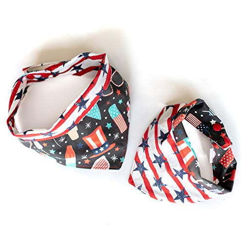 Uptown Pup Co. Stars and Stripes 4th of July American Double Sided Dog Bandana Handmade with 100% Cotton and Adjustable Snaps. Available in S,M and L (L (20