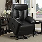 ProLounger Lya Black Renu Leather Power Recline and Lift Wall Hugger Chair with Remote Control 300lbs. Weight Capacity