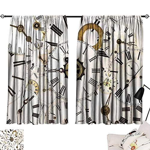 Drapes for Living Room Antique Collection of Vintage Classic Clock Faces Aged Analog Time Head Minute Hour Print Breathability W63 xL45 White Black ()