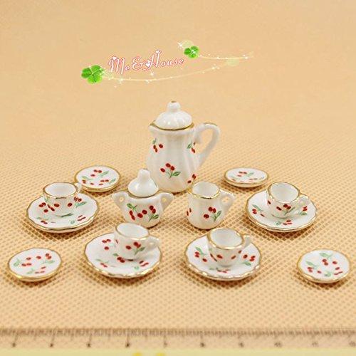 Cherry Dish - SHINA 15pcs Dollhouse Miniature Dining Ware Porcelain Tea Set Dish Cup Plate-Cherry (Cherry)