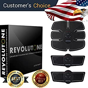 Muscle Toner & Abs Stimulator Abdominal Toning Belt EMS - Cellulite Remover - 2018 New Version - Summer is Coming / Flexible Silicone / Body Workout at Home - Office for Women Men Adult Unisex