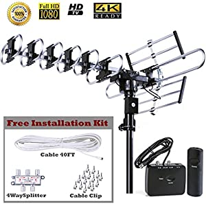 Five Star HD TV Antenna Outdoor Strongest Long Range with Motorized 360 Degree Rotation, UHF/VHF/FM Radio with Infrared Remote Control Advanced Design plus Installation Kit