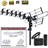 FiveStar Outdoor HD TV Antenna Strongest Up to 200 Miles Long Range with Motorized 360 Degree Rotation, UHF/VHF/FM Radio with Infrared Remote Control Advanced Design plus Installation Kit