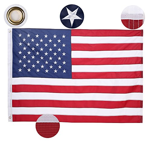 Homdox American US Flag 3x5 ft Embroidered Stars Sewn Stripes Brass Grommets 200D Quality Oxford Nylon