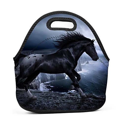 Family Dream Steed Courser Horse Lunch Bag Portable Tote Bento Pouch Lunchbox Baby Bag Multi-Purpose Storage Bag for Outdoor Tour School Office Picnic Zipper Satchel