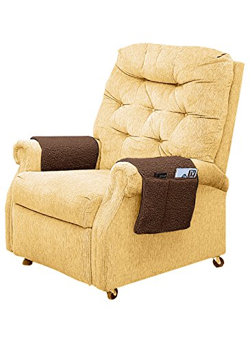 A Set Of 2 ArmChair Cover With Pocket (Brown) - Furniture Arm Covers