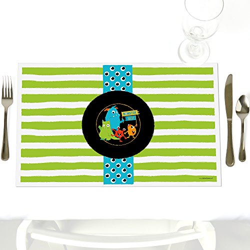 Monster Bash - Party Table Decoration - Little Monster Birthday Party or Baby Shower Placemats - Set of 12 ()
