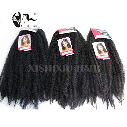 3Pcs Afro Kinky Marley 18 inch Braids Hair Extensions Synthetic Twist Crochet Braiding Hair (1B#)