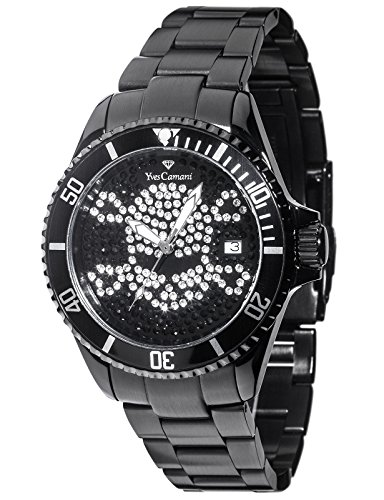 Yves Camani Anwen Skull Ladies Watch Black Stainless Steel Black Dial Date YC1065-L