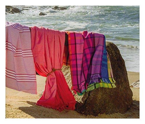 extragroßes XXL Toalla de sauna, toalla de baño, toalla de playa BEACH Life muy ligera 180 x 180 cm), diseño de cuadros de Leigh rayas en colores color Mix: ...
