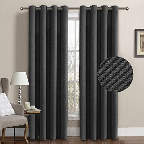 Home Decor Plaid Fabric (H.VERSAILTEX Ultra Decent Room Darkening Thermal Insulated Textured Tiny Plaid Rich Linen Curtains for Bedroom/Living Room,8 Grommets per Panel,52 by 96 Inch-Charcoal Gray (Set of 1))