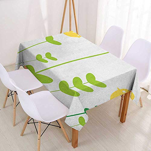 Wendell Joshua Personalized Custom Tablecloth Love,Birds with Valentines Heart Shaped Petals Nature Inspirations Image,Dark Coral Yellow Green,Dinner Kitchen Home Decor 55