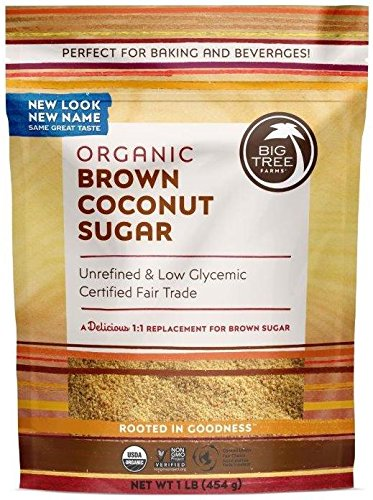 Big Tree Farms Organic Brown Coconut Sugar, Non-GMO, Gluten Free, Vegan, Fair Trade, Natural Sweetener, 1 Pound (Pack of 6) (Packaging May (Blonde Big Stick)