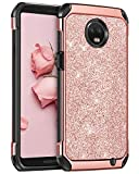 BENTOBEN Moto Z3 Case/Moto Z3 Play Case, Shockproof Glitter Sparkle Bling Girl Women 2 in 1 Shiny Faux Leather Hard Case Soft Bumper Protective Phone Cover for Motorola Moto Z3/Z3 Play 2018, Rose Gold
