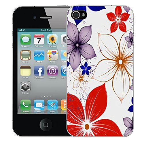 Mobile Case Mate iPhone 4s Silicone Coque couverture case cover Pare-chocs + STYLET - Red Poinsettia pattern (SILICON)